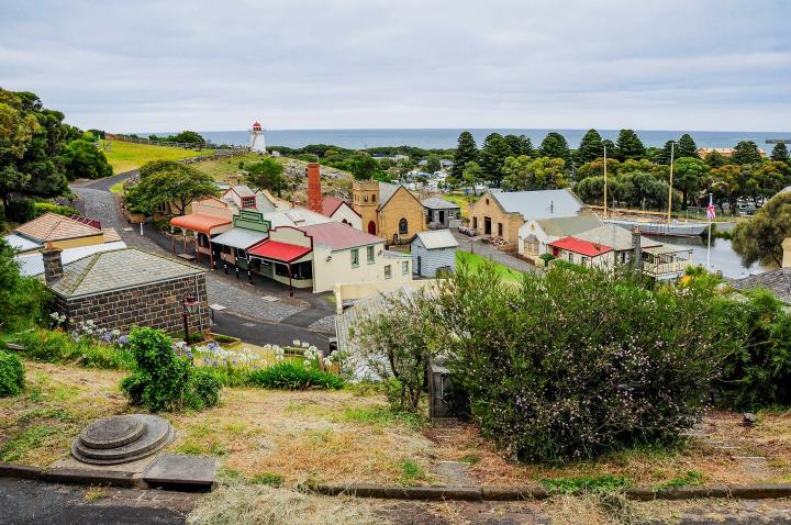 View of Warrnambool township looking down towards the lighthouse and ocean