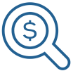 Icon of a magnifying glass over a dollar sign