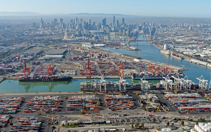 Birds-eye view of the Port of Melbourne