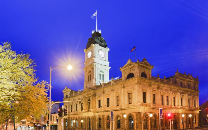 Ballarat Town Hall lit up at night