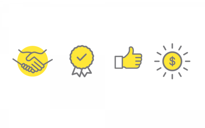 A graphic showing four icons: one shaking hands, one award badge with a tick in the centre, a thumbs up and a sun with a dollar sign in the middle of it.