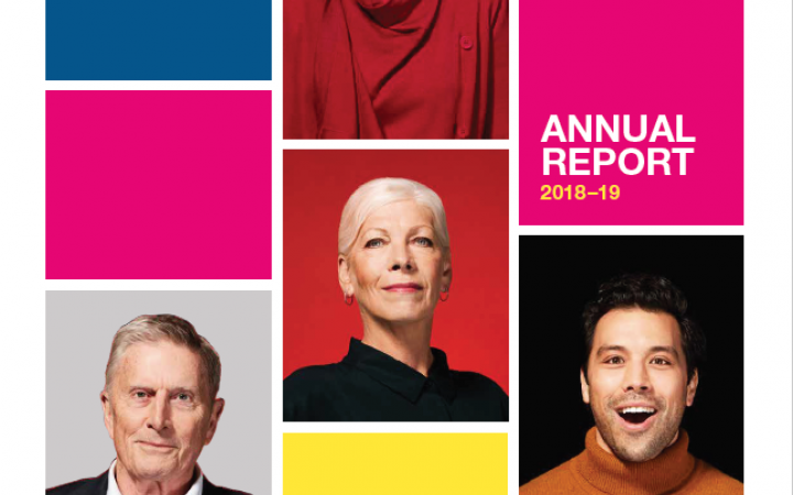 An image of the cover of the Essential Services Commission Annual Report 2018-19. The cover shows four people in different boxes smiling directly at the camera.