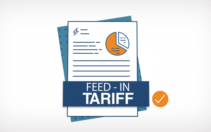 A graphic showing a bill document and the words 'feed-in tariff' in a banner across the front of it. A tick sits to the right of 'feed-in tariff'.