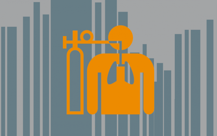 A graphic showing an icon of a person using an oxygen tank to breathe.