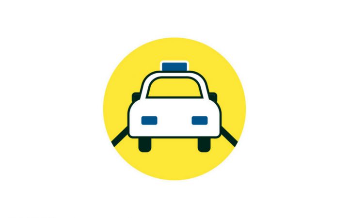 A graphic of a taxi driving on a road, with a yellow background.