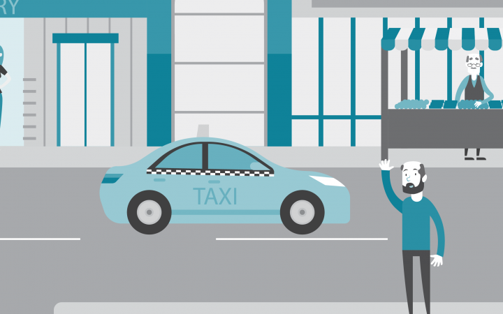 Cartoon image of a man hailing a taxi
