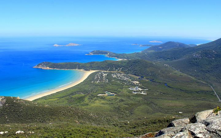 An image of the Wilsons Promontory coastline from Mount Oberon