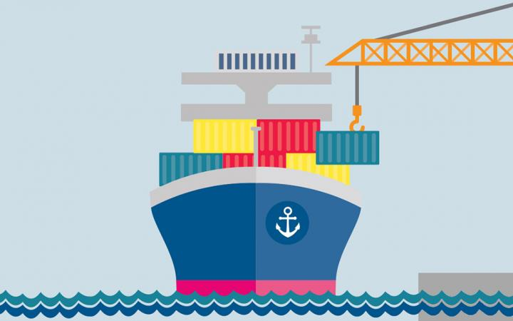 Cartoon image of a container ship being loaded at a port
