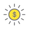 A graphic showing a sun with a yellow centre and a dollar sign in the middle of it.